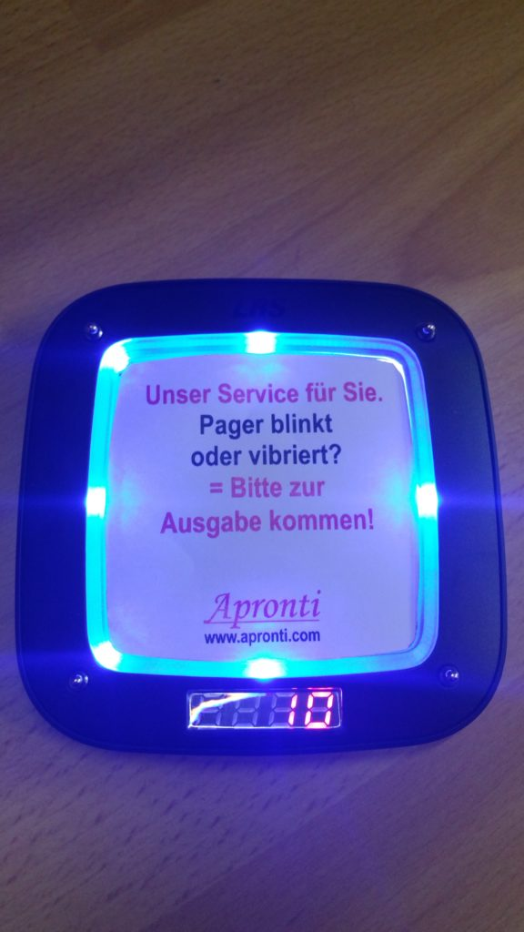 Pager blinkt vibriert Logistik Pager Alpha11 Apronti