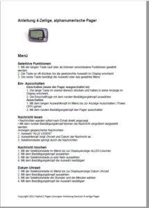Handbuch Batterie Personen-Ruf Pager LRS Apronti