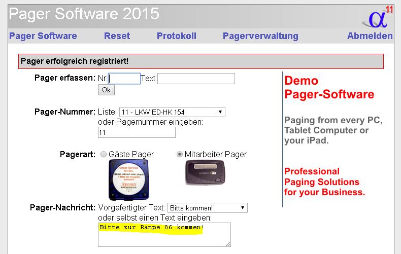 Logistik-Pager zur Rampe rufen , praktische Pager-Software für Logistiker